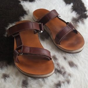 TEVA Slides in chocolate brown leather size 7